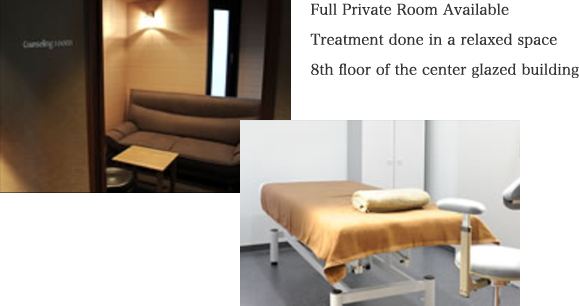 Full Private Room Available Treatment done in a relaxed space 8th floor of the center glazed building